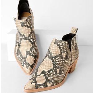 Dolce Vita SNAKE EMBOSSED LEATHER ANKLE BOOTIES